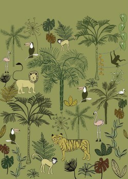 Wandbild Dunkel-Grün Dschungel Tiere