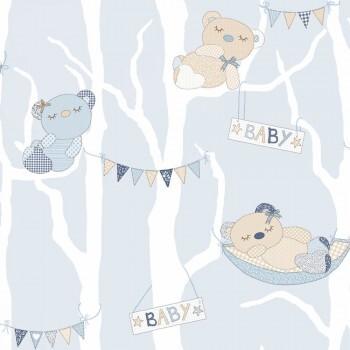 Bären Tapete Vlies Baby-Blau Kind