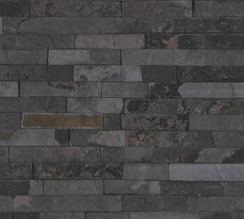 35582-5 Vliestapete Best of Wood'n Stone AS Creation Steinmauer dunkel-grau