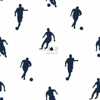 Vlies Tapete Weiß Blau Fußball Jungen