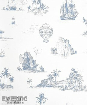 Casadeco - Chantilly 36-CHT22956505 blau Toile de Jouy Vlies