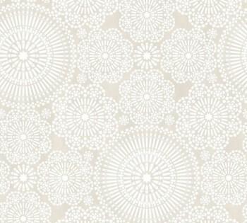 Mustertapete Beige Weiß Blumenmuster