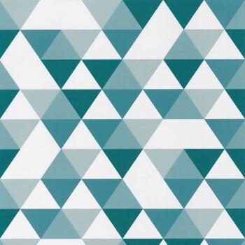 Vliestapete Petrol Weiß grafische Dreiecke Our Planet