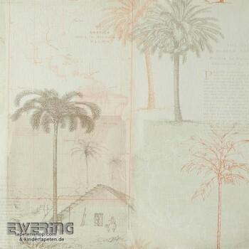 36-PSP66591132 Caselio - Passport Texdecor beige Palmen Tapete