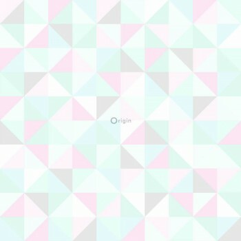 Grün Rosa Blau Dreieck Vliestapete