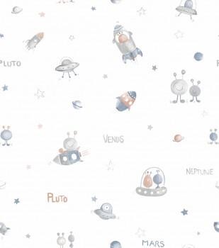 Tapete Papier Blau Grau Weiß Aliens Ufos Ohlala 335520