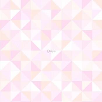 Rosa Dreieckmuster Vliestapete Glanz