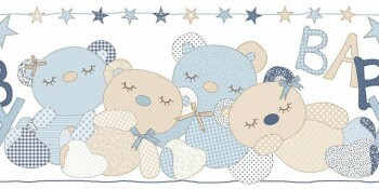 Bären Borte Hell-Blau Vlies Babyzimmer