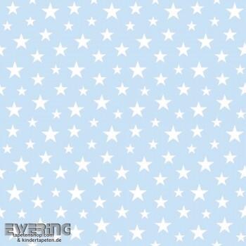 Sterne Vlies Hell-Blau