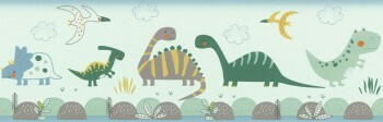 Borte Papier Dinosaurier Grün Blau