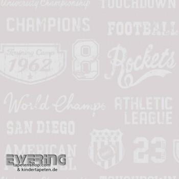 Taupe Papiertapete Football-Schrift