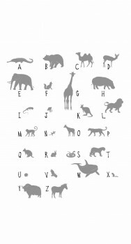 Wandbild ABC Tiere Grau