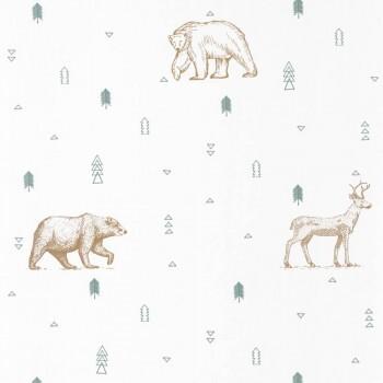 Vliestapete Tiere Wald Weiß Grün Braun Our Planet