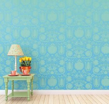 Wandbild Blumen Verzierungen Hell-Blau