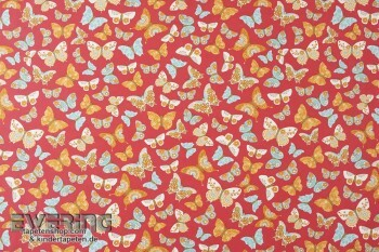 Rot Dekostoff Schmetterlinge