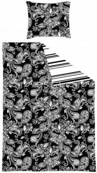 Bettwäscheset Funky Blumen Paisleys Schwarz Weiß