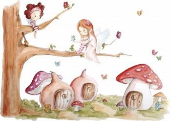 Pilze Elfen Baum Wandsticker