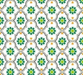 Muster-Tapete Ornamente Weiß Grün