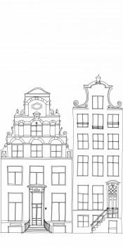 Wandbild Häuser Grau Weiß