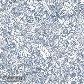 Rasch Textil Cabana 23-148615 Mandala Blüten dunkel-blau Vlies
