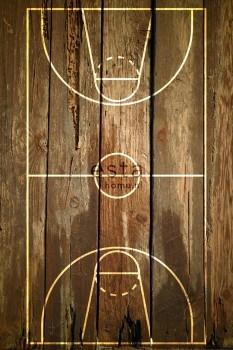 Basketballfeld Holzlatten Wandbild