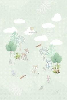 Wandbild Mint-Grün Tiere Wald