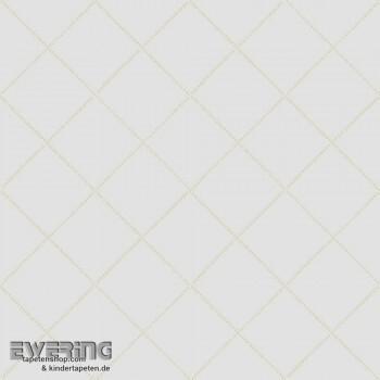 Weiß Karo-Muster Papier-Tapete
