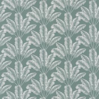 Tapete Vlies Blau-Grün Weiße Blätter OUP101947127
