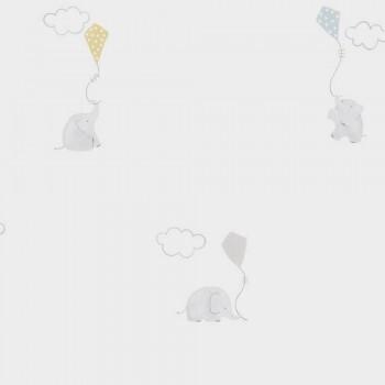 Vliestapete Drachen Elefanten Beige Blau
