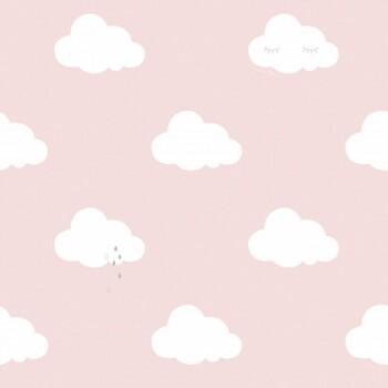 Rosa Wolkentapete Vlies
