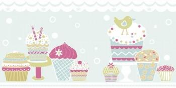 Borte Cupcakes Mint-Blau Vlies