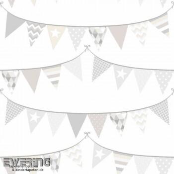 Fahnen Weiß Vliestapete