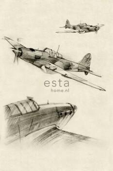 Flugzeuge Beige Grau Wandbild Jungen