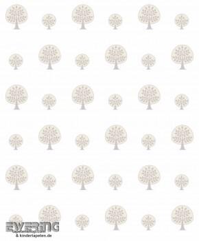 Baum-Tapete Grau Kinder