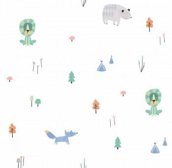Tapete Papier Weiß Bunte Tiere Wald Ohlala 335010