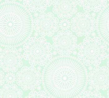 Hell-Grün Muster Tapete Blumen Weiß