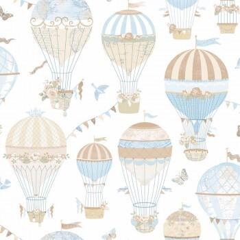 Tapete Luftballons Hell-Blau
