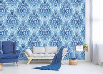 Wandbild Ornamente Blau Weiß