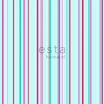 Non-woven wallpaper stripes turquoise pink