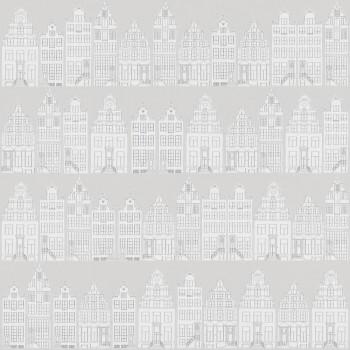 Vliestapete Grau Häuser