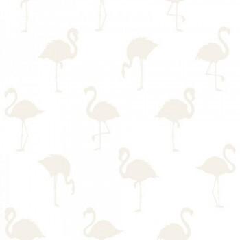 Vliestapete Flamingos Silbergrau