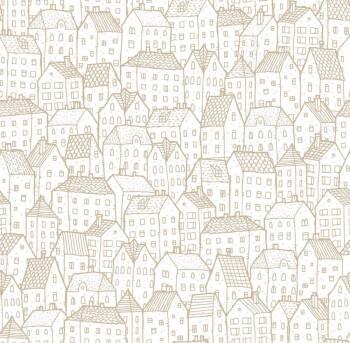 Häuser Papiertapete Gold