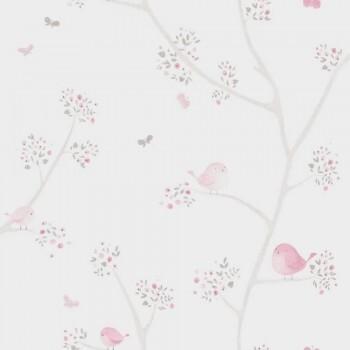 Vliestapete Vögel Äste Beige Rosa