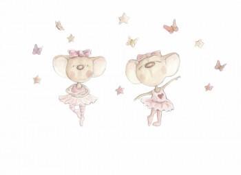 Ballerina Mäuse Wandsticker Rosa