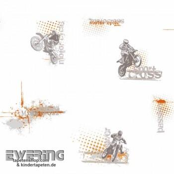 Creme-Weiß Papiertapete Motocross