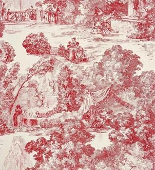 Casadeco - Chantilly 36-CHT22898121 rot Dekostoff Toile de Jouy