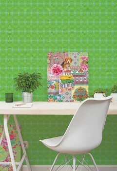 Wandbild Grafisches Karo Muster Grün