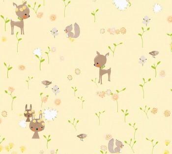 Tapete Gelb Braune Waldtiere