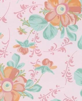 Blumen Vlies-Tapete Rosa Mädchen