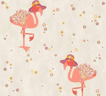 Beige Vliestapete Blumen Flamingo Orange